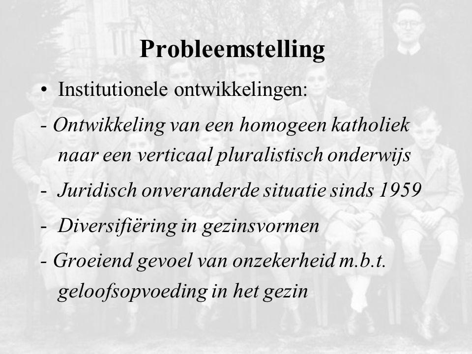 Probleemstelling Institutionele ontwikkelingen: - Ontwikkeling van een homogeen katholiek naar een verticaal pluralistisch onderwijs -Juridisch onvera