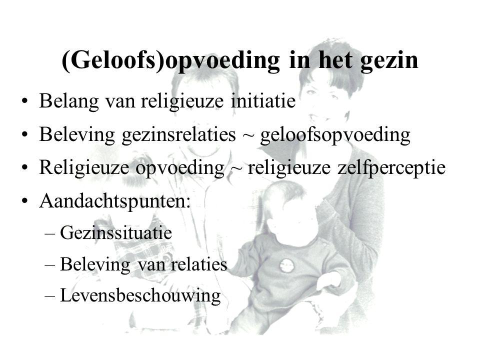 (Geloofs)opvoeding in het gezin Belang van religieuze initiatie Beleving gezinsrelaties ~ geloofsopvoeding Religieuze opvoeding ~ religieuze zelfperce