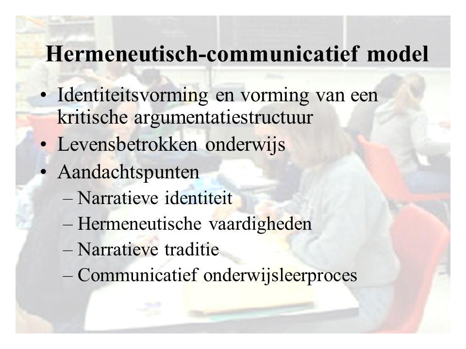 Hermeneutisch-communicatief model Identiteitsvorming en vorming van een kritische argumentatiestructuur Levensbetrokken onderwijs Aandachtspunten –Nar