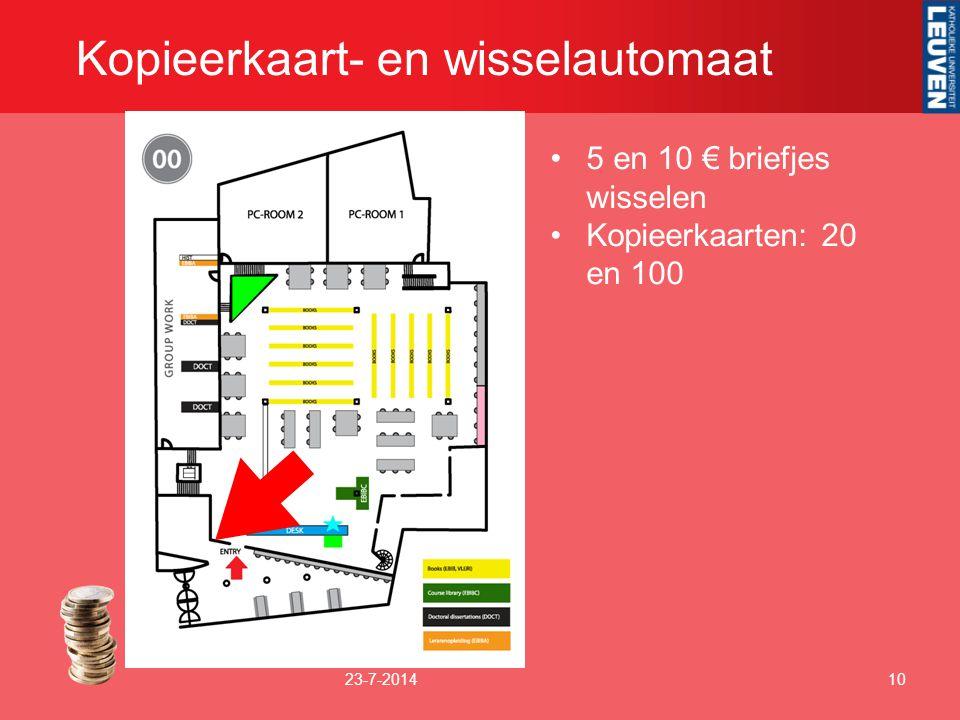 Kopieerkaart- en wisselautomaat 23-7-201410 5 en 10 € briefjes wisselen Kopieerkaarten: 20 en 100