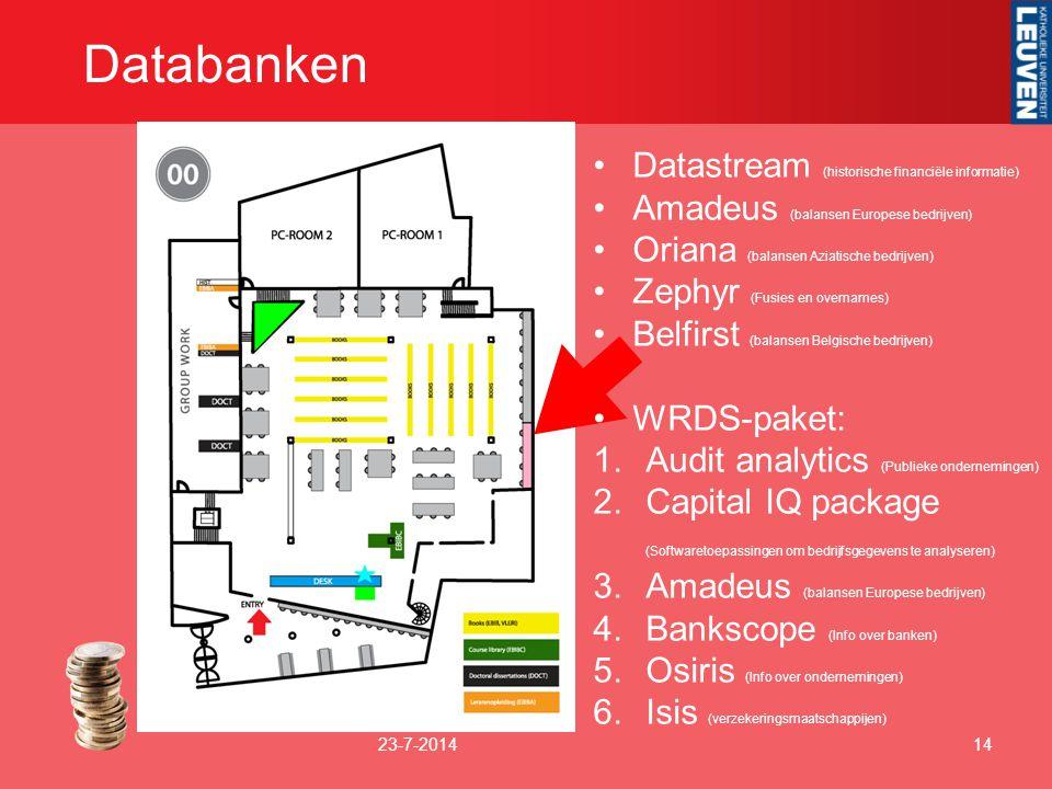 Databanken 23-7-201414 Datastream (historische financiële informatie) Amadeus (balansen Europese bedrijven) Oriana (balansen Aziatische bedrijven) Zep