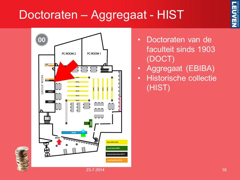 Doctoraten – Aggregaat - HIST 23-7-201418 Doctoraten van de faculteit sinds 1903 (DOCT) Aggregaat (EBIBA) Historische collectie (HIST)
