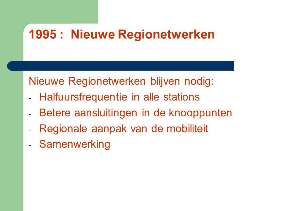 1995 : Nieuwe Regionetwerken Nieuwe Regionetwerken blijven nodig: - Halfuursfrequentie in alle stations - Betere aansluitingen in de knooppunten - Regionale aanpak van de mobiliteit - Samenwerking