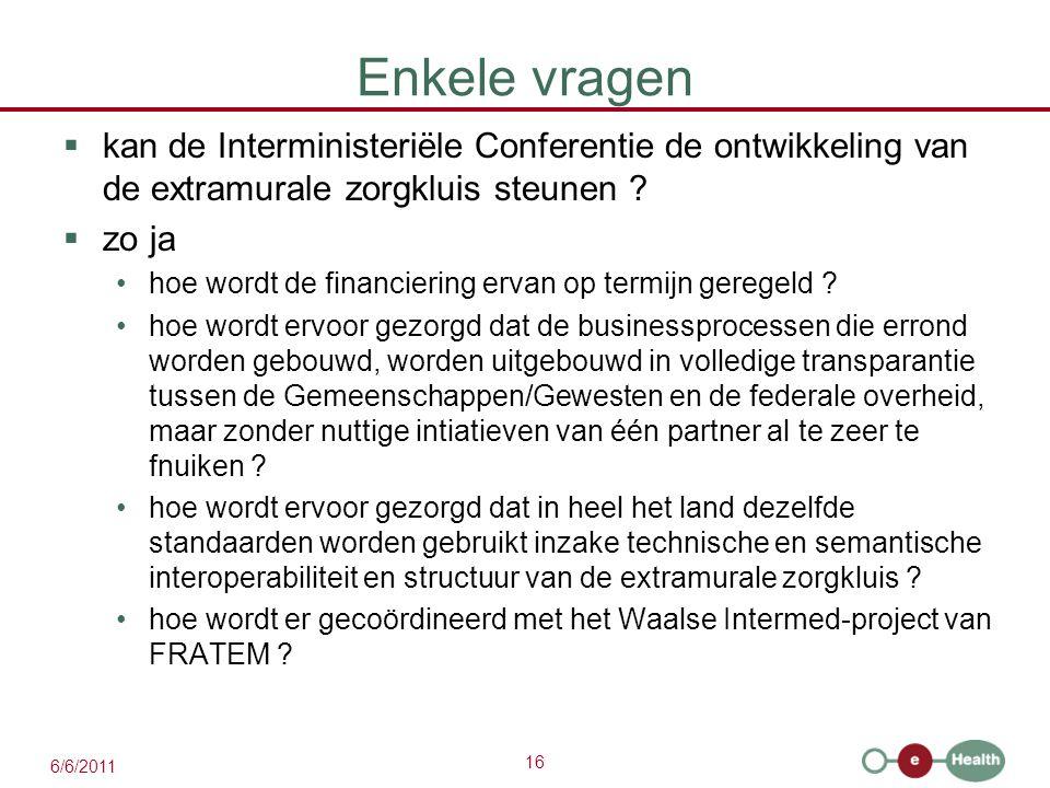 16 6/6/2011 Enkele vragen  kan de Interministeriële Conferentie de ontwikkeling van de extramurale zorgkluis steunen .