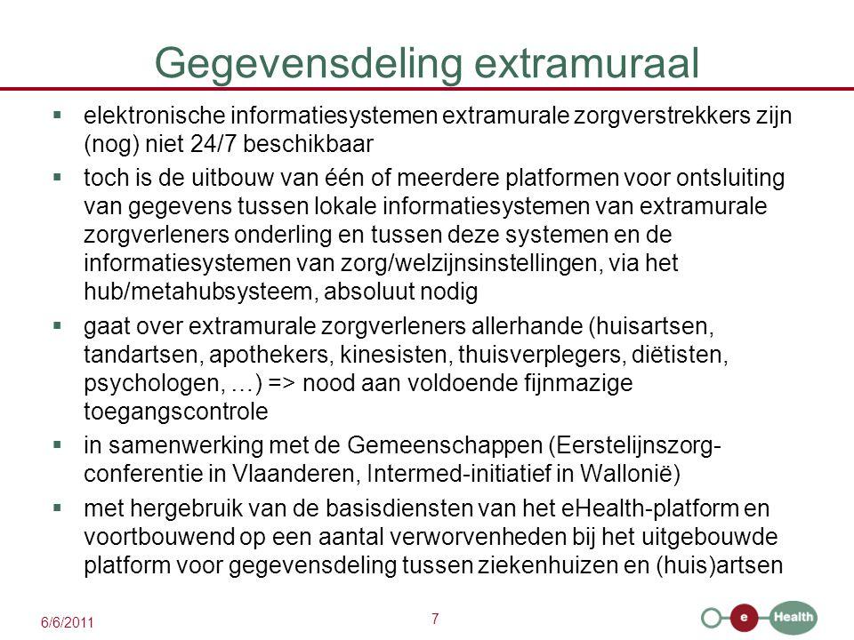 8 6/6/2011 Ondersteuning door extramurale zorgkluizen .