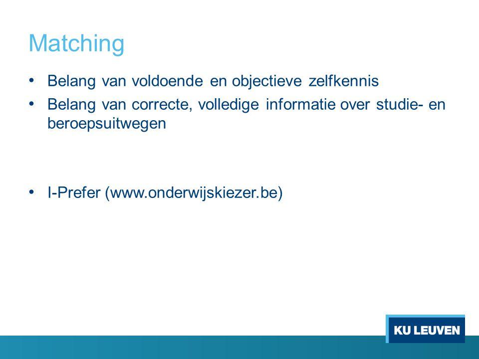 Matching Belang van voldoende en objectieve zelfkennis Belang van correcte, volledige informatie over studie- en beroepsuitwegen I-Prefer (www.onderwijskiezer.be)