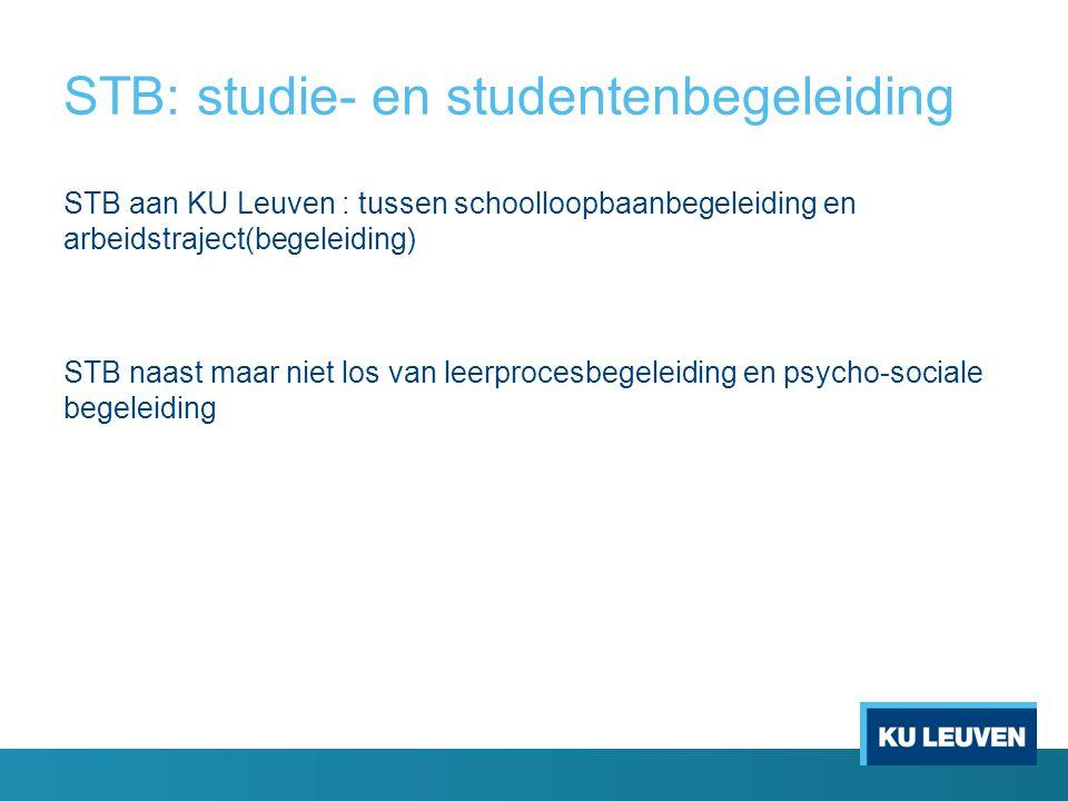 STB: studie- en studentenbegeleiding STB aan KU Leuven : tussen schoolloopbaanbegeleiding en arbeidstraject(begeleiding) STB naast maar niet los van leerprocesbegeleiding en psycho-sociale begeleiding