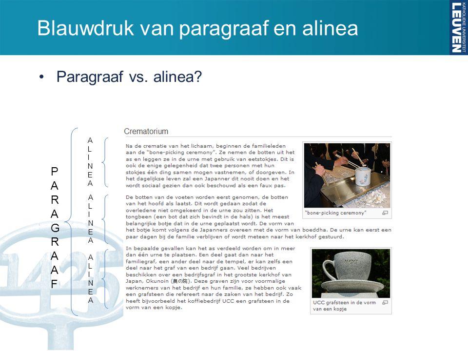 Blauwdruk van paragraaf en alinea Paragraaf vs. alinea? PARAGRAAFPARAGRAAF ALINEAALINEA ALINEAALINEA ALINEAALINEA