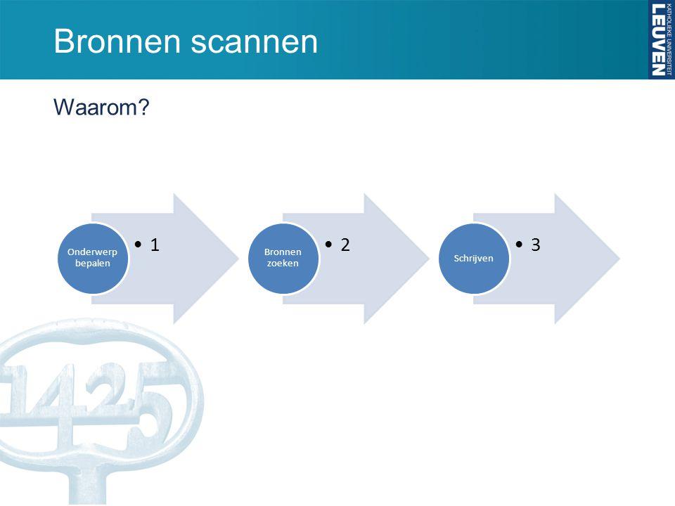 Bronnen scannen Waarom? 1 Onderwerp bepalen 2 Bronnen zoeken 3 Schrijven