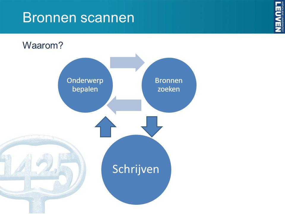 Bronnen scannen DUS: in de eerste fase ga je nog niet elke bron in detail nalezen, maar kan je SCANNEN.