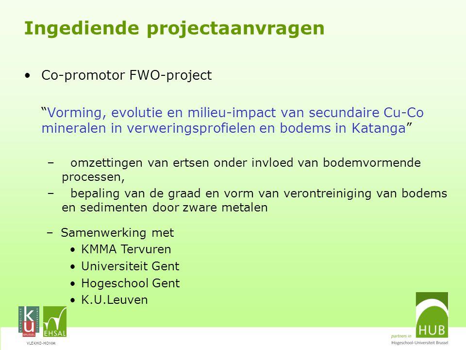 VLEKHO-HONIM Co-promotor IOF-project Pyrometallurgie en industriële ecologie -Valorisatie van slakken uit de metallische industrie, met aandacht voor eco-efficiëntie en duurzaamheid -Samenwerking -KULeuven (MTM, geologie) -HUB Co-promotor Hercules-project Middelzware onderzoeksapparatuur (microsonde)
