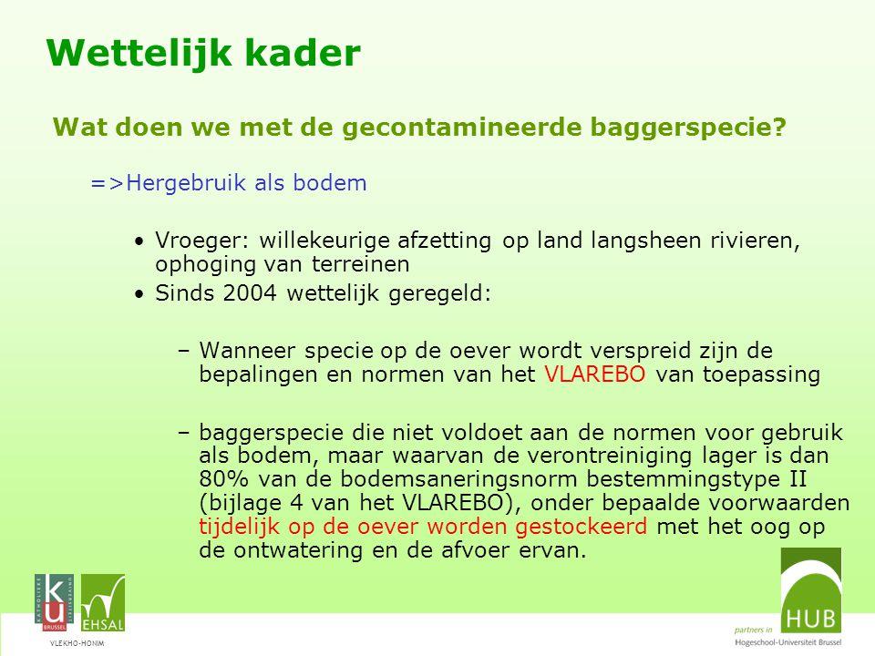 VLEKHO-HONIM =>Hergebruik als bodem Vroeger: willekeurige afzetting op land langsheen rivieren, ophoging van terreinen Sinds 2004 wettelijk geregeld: –Wanneer specie op de oever wordt verspreid zijn de bepalingen en normen van het VLAREBO van toepassing –baggerspecie die niet voldoet aan de normen voor gebruik als bodem, maar waarvan de verontreiniging lager is dan 80% van de bodemsaneringsnorm bestemmingstype II (bijlage 4 van het VLAREBO), onder bepaalde voorwaarden tijdelijk op de oever worden gestockeerd met het oog op de ontwatering en de afvoer ervan.