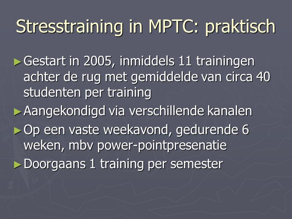 Stresstraining in MPTC: praktisch ► Gestart in 2005, inmiddels 11 trainingen achter de rug met gemiddelde van circa 40 studenten per training ► Aangek