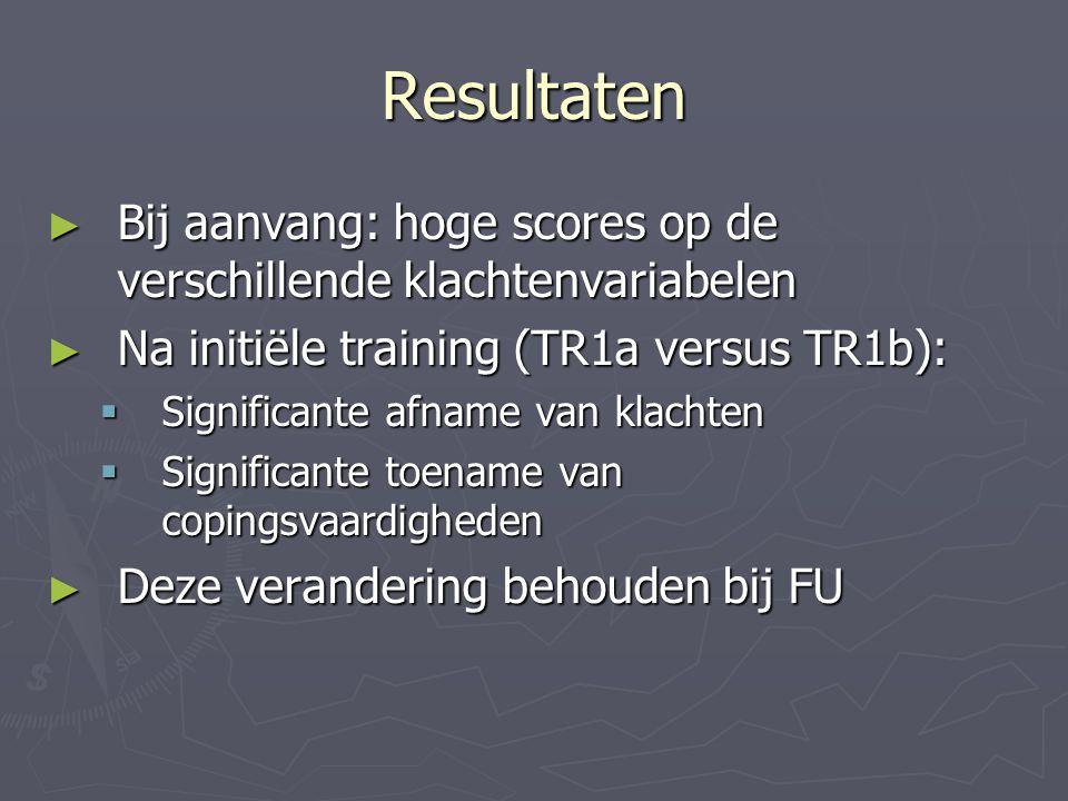 Resultaten ► Bij aanvang: hoge scores op de verschillende klachtenvariabelen ► Na initiële training (TR1a versus TR1b):  Significante afname van klac