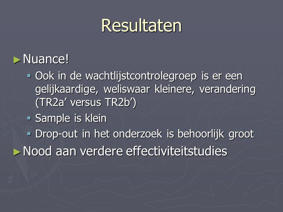Resultaten ► Nuance!  Ook in de wachtlijstcontrolegroep is er een gelijkaardige, weliswaar kleinere, verandering (TR2a' versus TR2b')  Sample is kle
