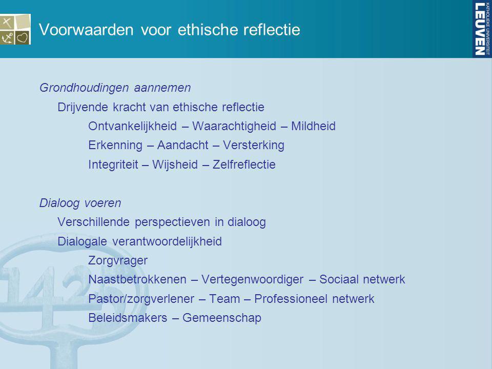 Voorwaarden voor ethische reflectie Grondhoudingen aannemen Drijvende kracht van ethische reflectie Ontvankelijkheid – Waarachtigheid – Mildheid Erken