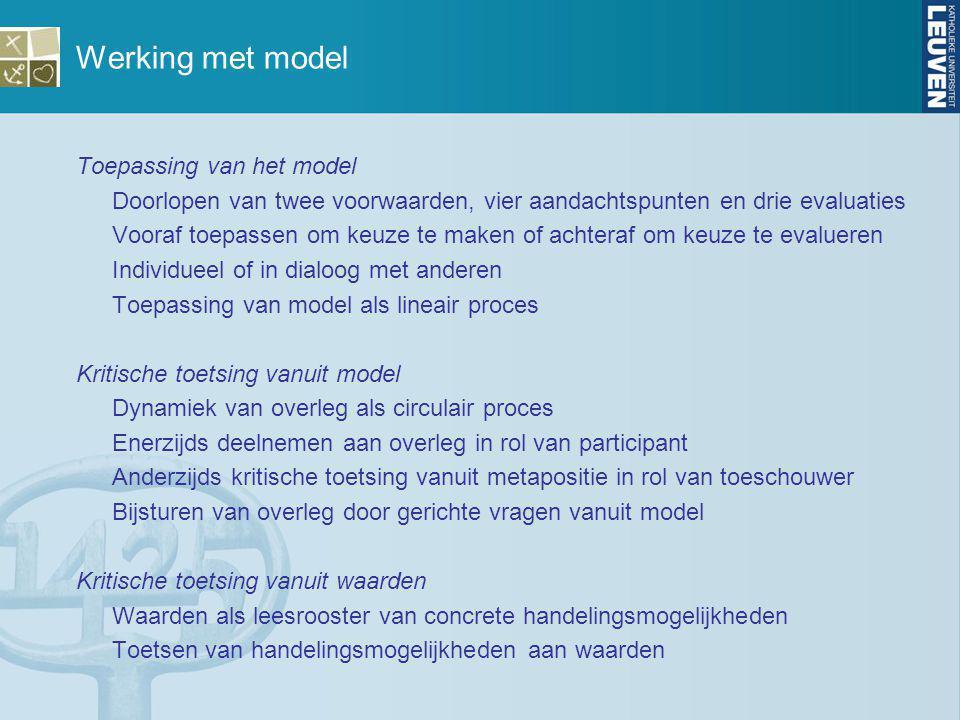 Werking met model Toepassing van het model Doorlopen van twee voorwaarden, vier aandachtspunten en drie evaluaties Vooraf toepassen om keuze te maken
