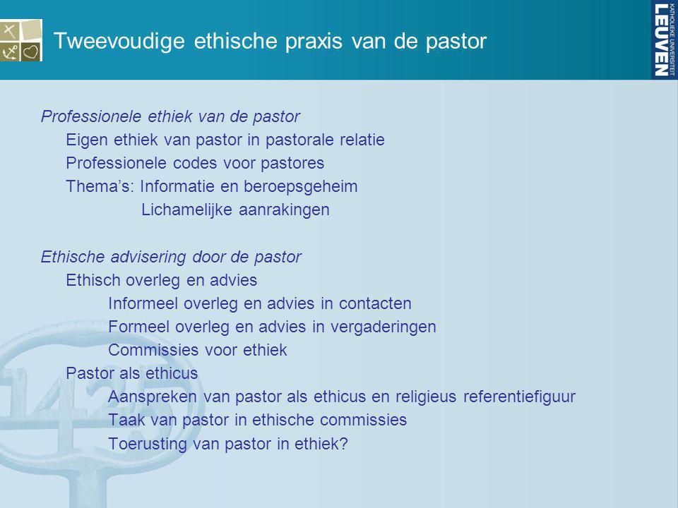 Tweevoudige ethische praxis van de pastor Professionele ethiek van de pastor Eigen ethiek van pastor in pastorale relatie Professionele codes voor pas