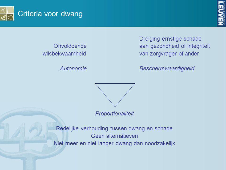 Criteria voor dwang Dreiging ernstige schade Onvoldoende aan gezondheid of integriteit wilsbekwaamheid van zorgvrager of ander Autonomie Beschermwaard