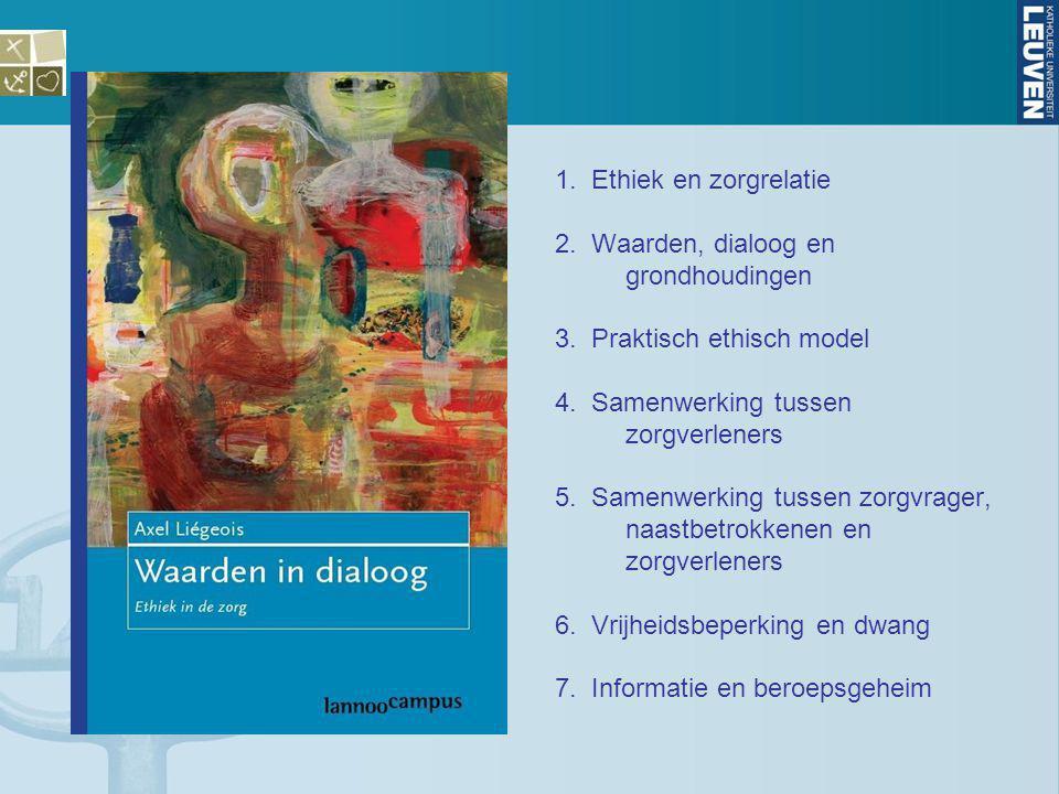 1. Ethiek en zorgrelatie 2. Waarden, dialoog en grondhoudingen 3. Praktisch ethisch model 4. Samenwerking tussen zorgverleners 5. Samenwerking tussen