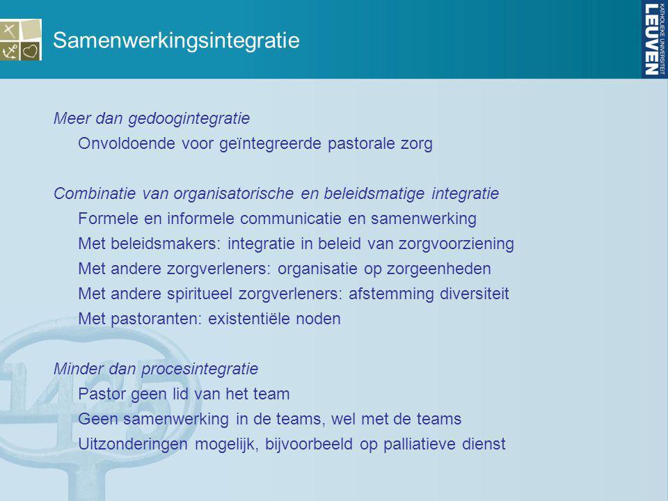 Samenwerkingsintegratie Meer dan gedoogintegratie Onvoldoende voor geïntegreerde pastorale zorg Combinatie van organisatorische en beleidsmatige integ