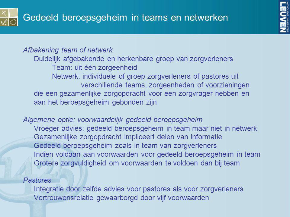 Gedeeld beroepsgeheim in teams en netwerken Afbakening team of netwerk Duidelijk afgebakende en herkenbare groep van zorgverleners Team: uit één zorge