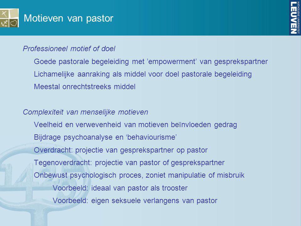 Motieven van pastor Professioneel motief of doel Goede pastorale begeleiding met 'empowerment' van gesprekspartner Lichamelijke aanraking als middel v