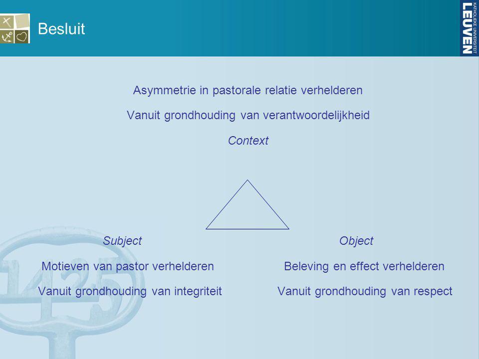Besluit Asymmetrie in pastorale relatie verhelderen Vanuit grondhouding van verantwoordelijkheid Context Subject Object Motieven van pastor verheldere