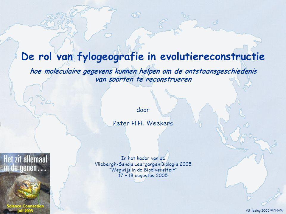 overzicht VS-lezing 2005 © PHHW 1.Inleiding en historisch overzicht 2.Moleculaire merkers in de fylogeografie 3.Genetische variatie in de ruimte 4.Genetische variatie in de tijd 5.Toegepaste fylogeografie Overzicht