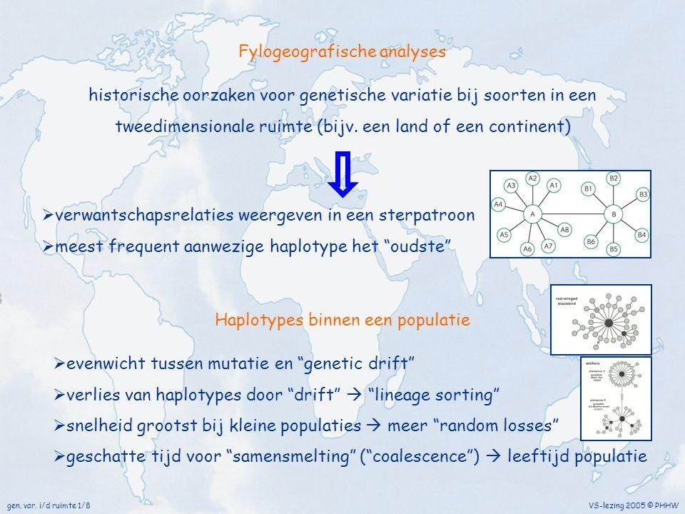 VS-lezing 2005 © PHHWgen. var. i/d ruimte 1/8 Fylogeografische analyses historische oorzaken voor genetische variatie bij soorten in een tweedimension
