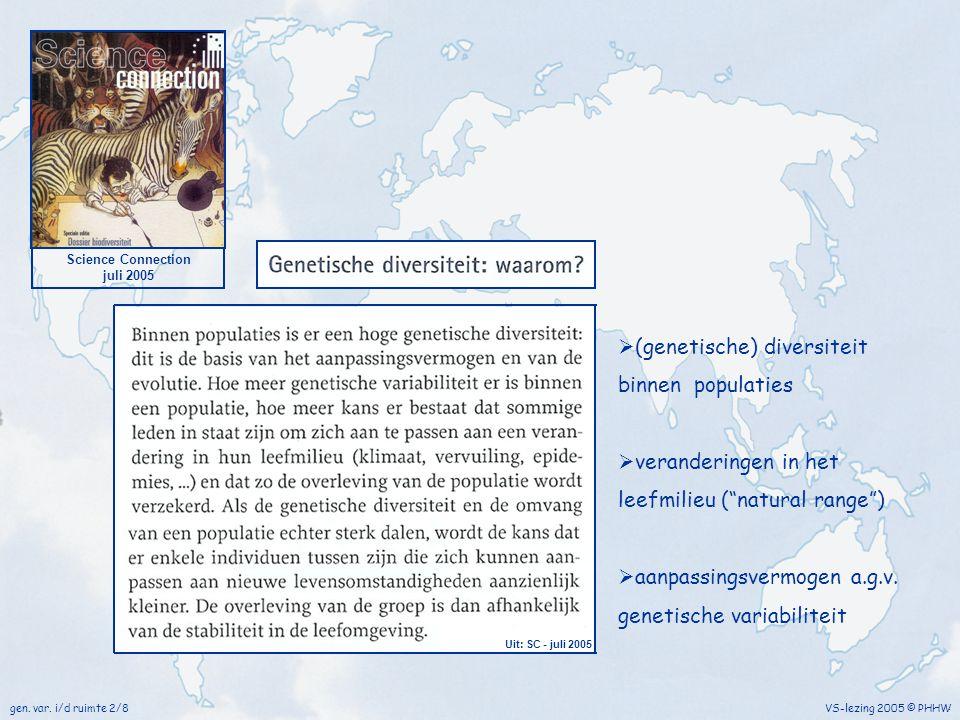 """VS-lezing 2005 © PHHW Science Connection juli 2005  (genetische) diversiteit binnen populaties  veranderingen in het leefmilieu (""""natural range"""") """