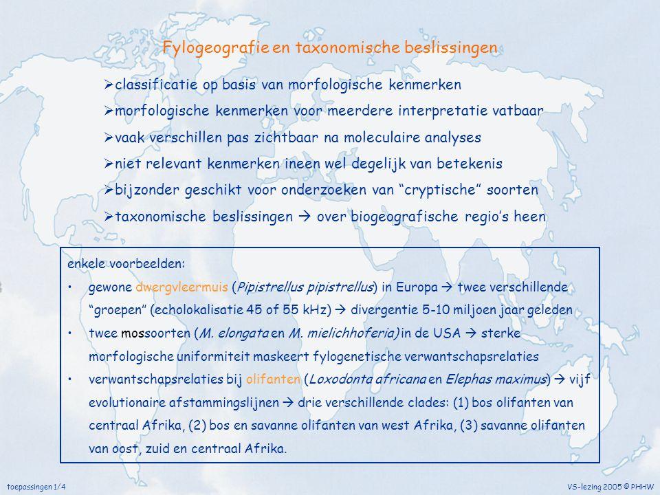 toepassingen 1/4 VS-lezing 2005 © PHHW Fylogeografie en taxonomische beslissingen  classificatie op basis van morfologische kenmerken  morfologische