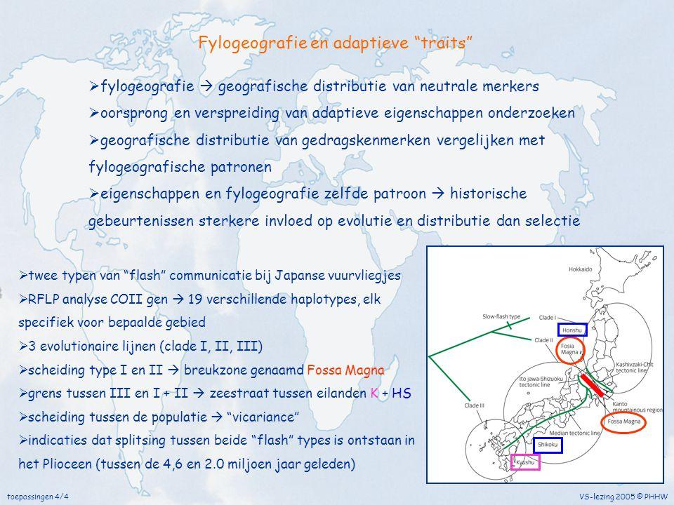 """VS-lezing 2005 © PHHWtoepassingen 4/4 Fylogeografie en adaptieve """"traits""""  fylogeografie  geografische distributie van neutrale merkers  oorsprong"""