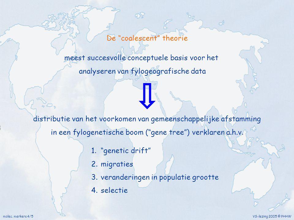 """molec. merkers 4/5 VS-lezing 2005 © PHHW De """"coalescent"""" theorie meest succesvolle conceptuele basis voor het analyseren van fylogeografische data 1."""""""