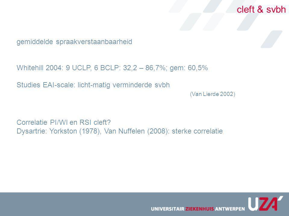 cleft & svbh gemiddelde spraakverstaanbaarheid Whitehill 2004: 9 UCLP, 6 BCLP: 32,2 – 86,7%; gem: 60,5% Studies EAI-scale: licht-matig verminderde svb