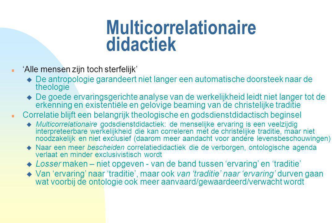 Multicorrelationaire didactiek n 'Alle mensen zijn toch sterfelijk' u De antropologie garandeert niet langer een automatische doorsteek naar de theolo