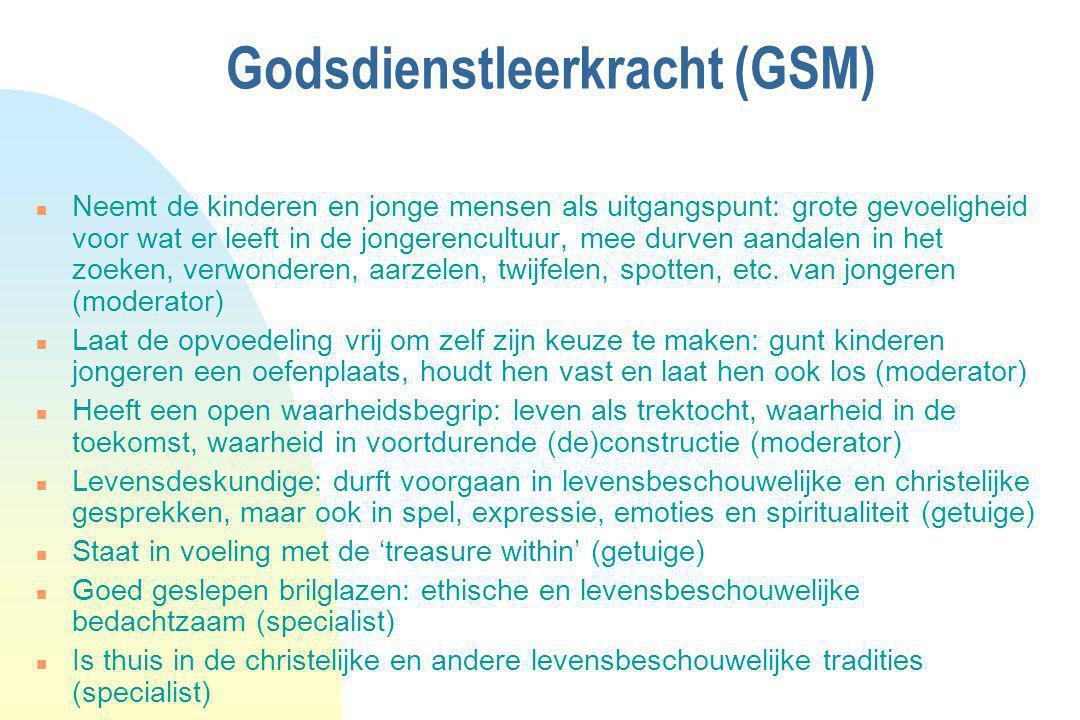 Godsdienstleerkracht (GSM) n Neemt de kinderen en jonge mensen als uitgangspunt: grote gevoeligheid voor wat er leeft in de jongerencultuur, mee durve