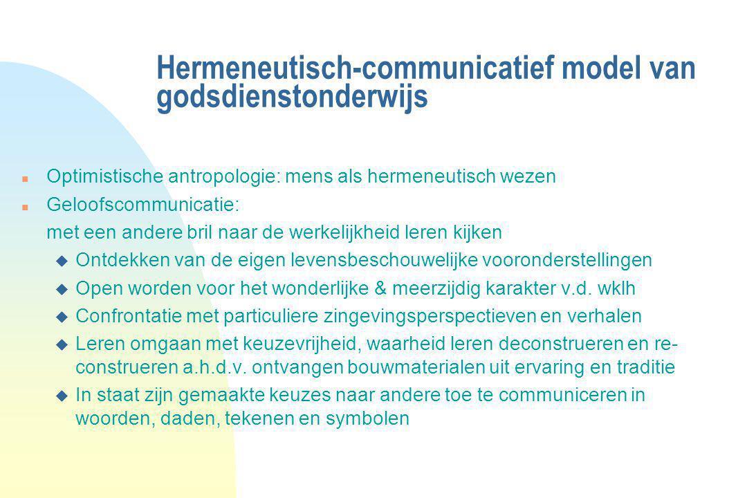 Hermeneutisch-communicatief model van godsdienstonderwijs n Optimistische antropologie: mens als hermeneutisch wezen n Geloofscommunicatie: met een an
