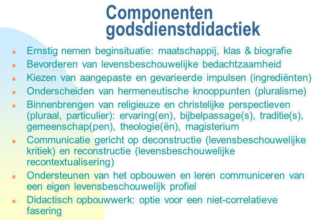 Componenten godsdienstdidactiek n Ernstig nemen beginsituatie: maatschappij, klas & biografie n Bevorderen van levensbeschouwelijke bedachtzaamheid n