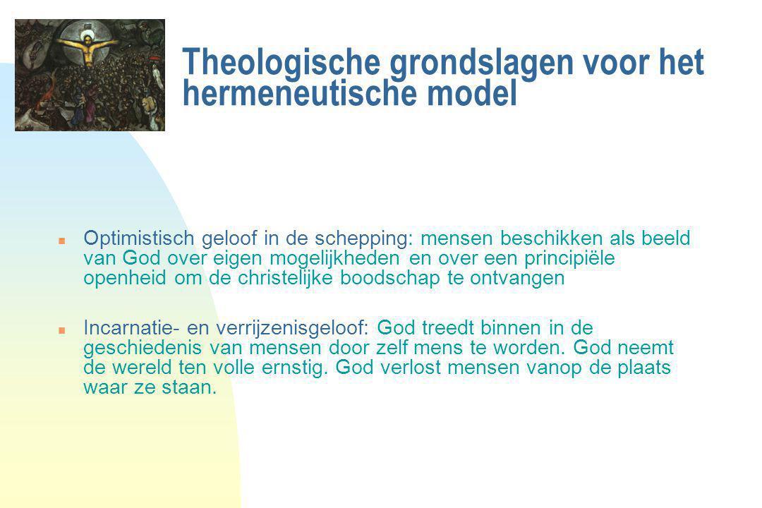 Theologische grondslagen voor het hermeneutische model n Optimistisch geloof in de schepping: mensen beschikken als beeld van God over eigen mogelijkh