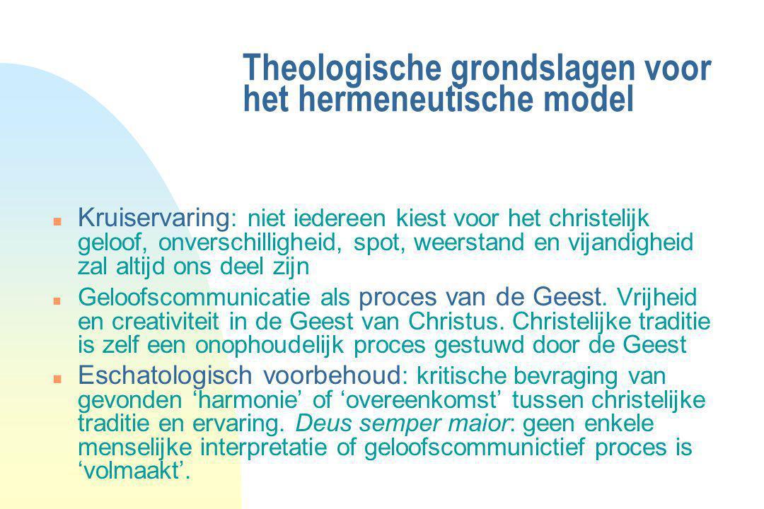 Theologische grondslagen voor het hermeneutische model n Kruiservaring : niet iedereen kiest voor het christelijk geloof, onverschilligheid, spot, wee