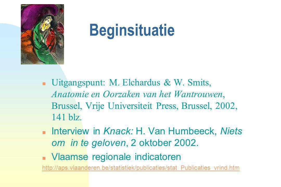 Beginsituatie Uitgangspunt: M. Elchardus & W. Smits, Anatomie en Oorzaken van het Wantrouwen, Brussel, Vrije Universiteit Press, Brussel, 2002, 141 bl