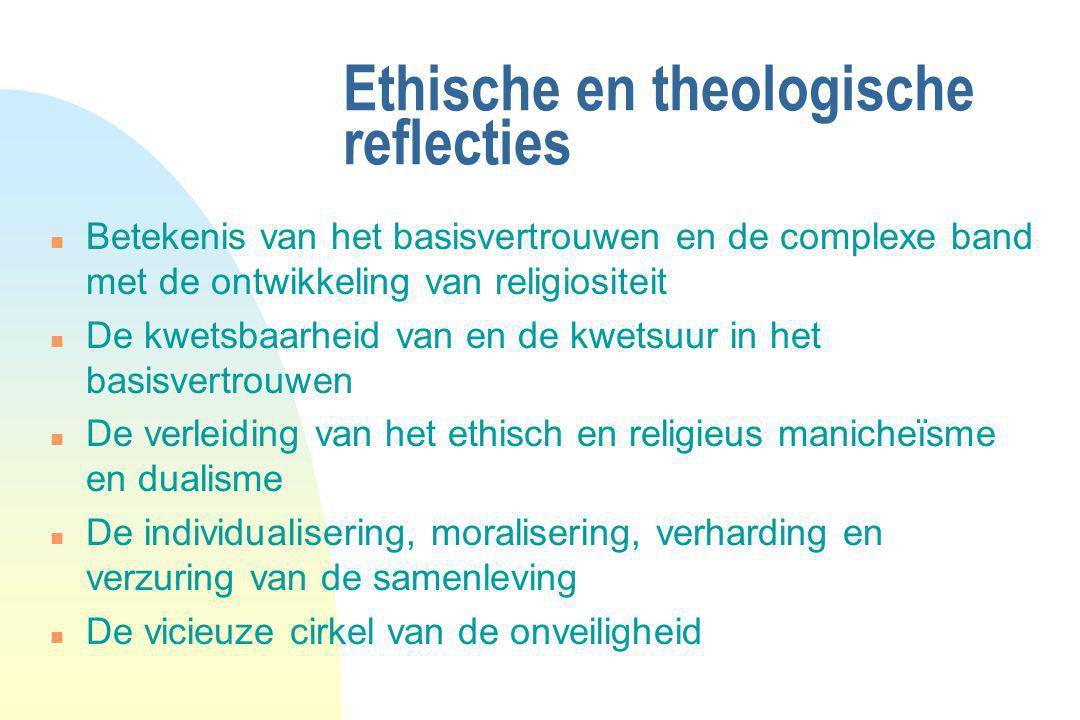 Ethische en theologische reflecties n Betekenis van het basisvertrouwen en de complexe band met de ontwikkeling van religiositeit n De kwetsbaarheid v