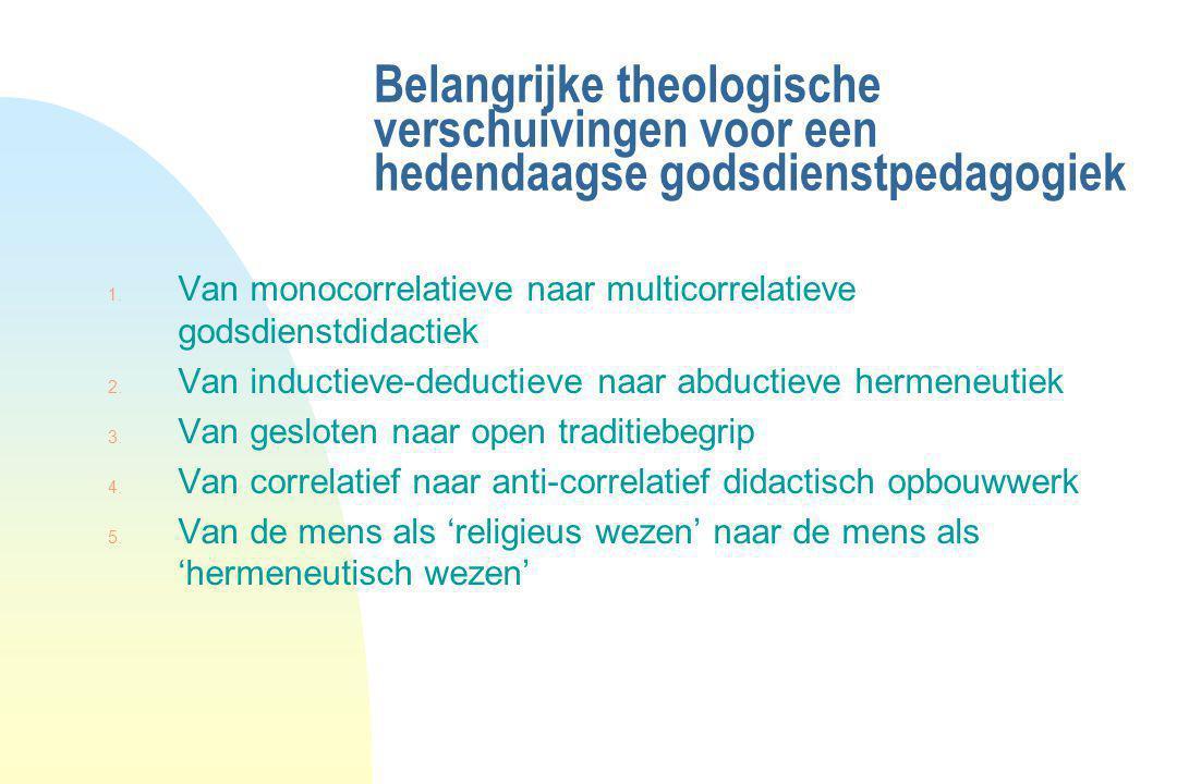 Belangrijke theologische verschuivingen voor een hedendaagse godsdienstpedagogiek 1. Van monocorrelatieve naar multicorrelatieve godsdienstdidactiek 2