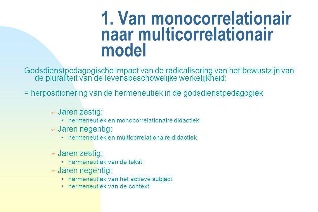 1. Van monocorrelationair naar multicorrelationair model Godsdienstpedagogische impact van de radicalisering van het bewustzijn van de pluraliteit van