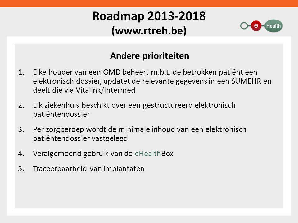 Roadmap 2013-2018 (www.rtreh.be) Andere prioriteiten 1.Elke houder van een GMD beheert m.b.t.