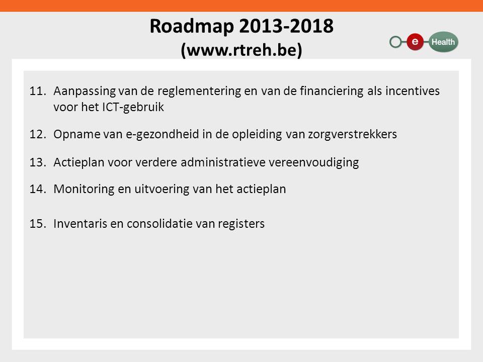 Roadmap 2013-2018 (www.rtreh.be) 11.Aanpassing van de reglementering en van de financiering als incentives voor het ICT-gebruik 12.Opname van e-gezondheid in de opleiding van zorgverstrekkers 13.Actieplan voor verdere administratieve vereenvoudiging 14.Monitoring en uitvoering van het actieplan 15.Inventaris en consolidatie van registers