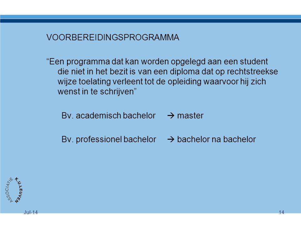 """Jul-1414 VOORBEREIDINGSPROGRAMMA """"Een programma dat kan worden opgelegd aan een student die niet in het bezit is van een diploma dat op rechtstreekse"""