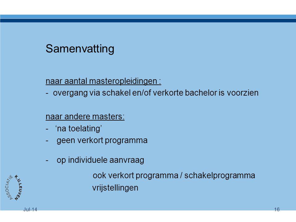 Jul-1416 Samenvatting naar aantal masteropleidingen : - overgang via schakel en/of verkorte bachelor is voorzien naar andere masters: - 'na toelating'