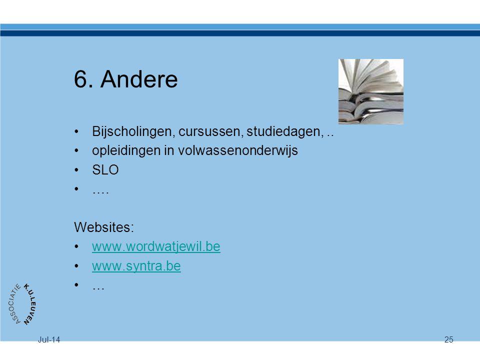 Jul-1425 6. Andere Bijscholingen, cursussen, studiedagen,.. opleidingen in volwassenonderwijs SLO …. Websites: www.wordwatjewil.be www.syntra.be …